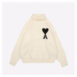 Ami 20Fw Kintted Sweater White