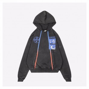 Off White 20Fw Black Hoodie With Print